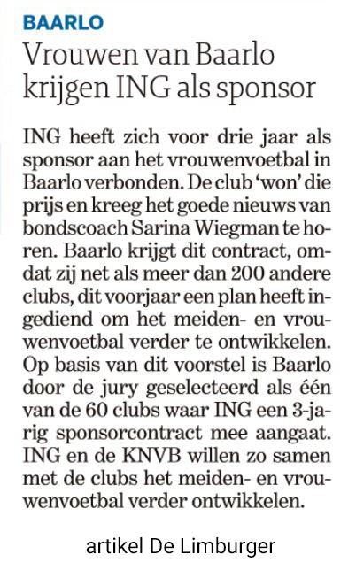 Artikel sponsorcontract VV Baarlo - De Limburger