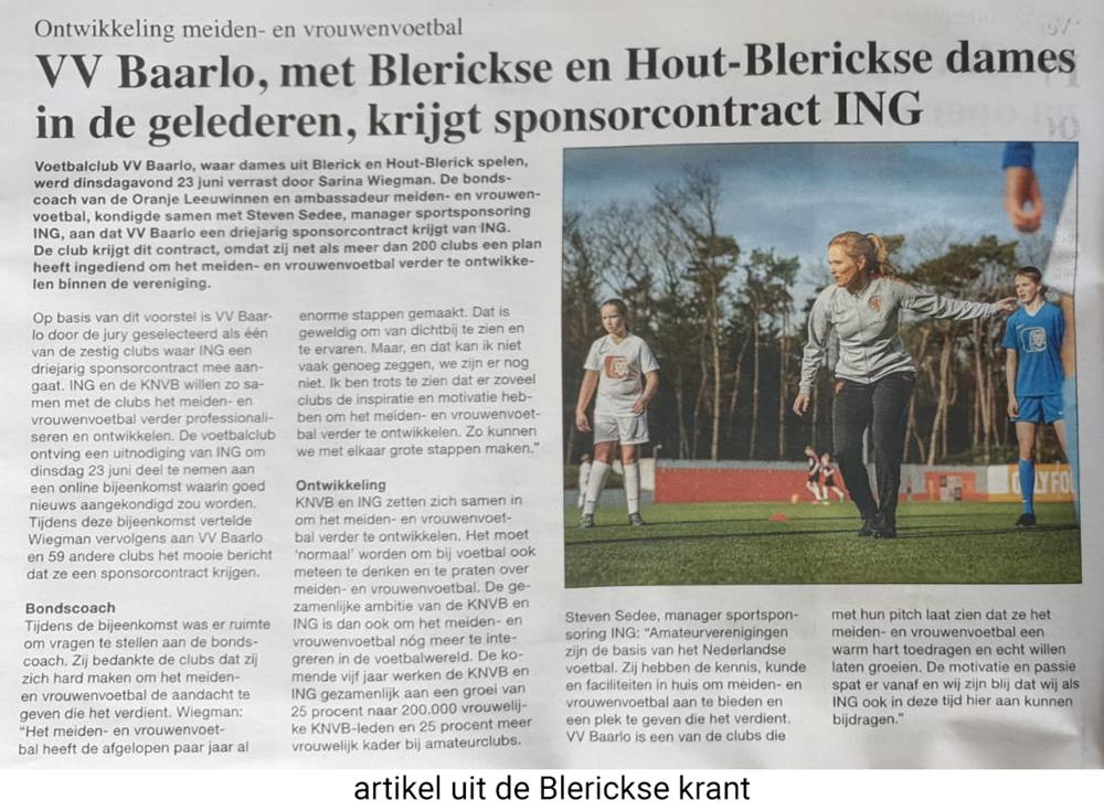 Artikel sponsorcontract VV Baarlo - ING, Blerickse krant