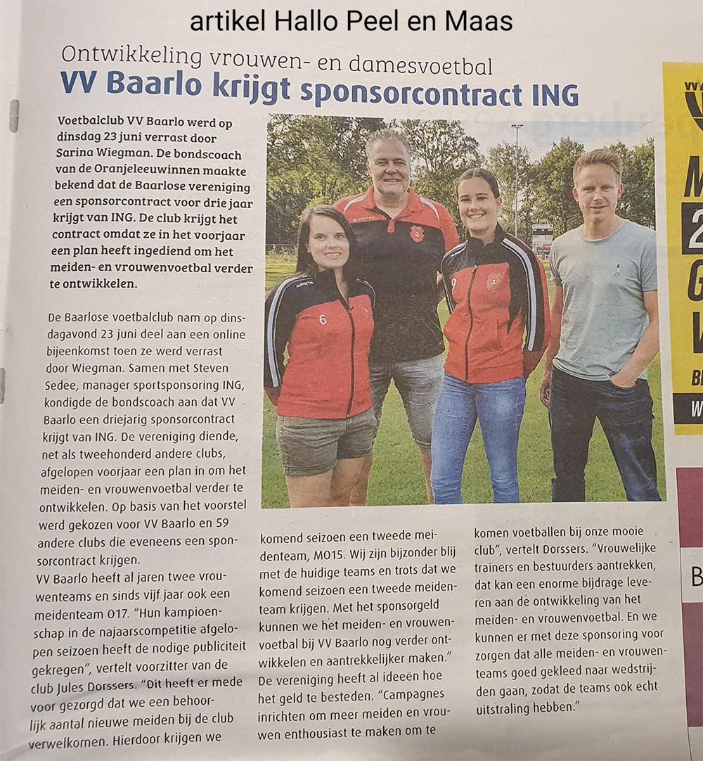 Artikel sponsorcontract VV Baarlo - ING, Hallo Peel en Maas