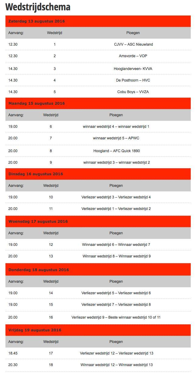 wedstrijdschema AVK