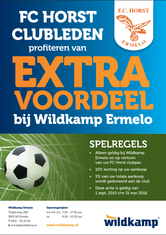 Kortingsactie Wildkamp Ermelo voor FCHorst Leden