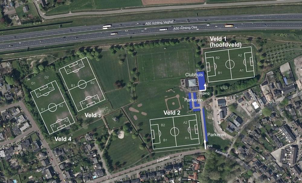 Parkeren en veldindeling sportpark Moleneind